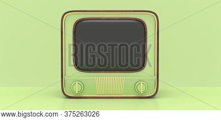 Retro Old Tv Against Pastel Green Color Background. 3D Illustration