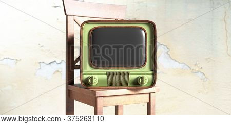 Vintage Tv On A Wooden Chair, Faded Wall Background. 3D Illustration