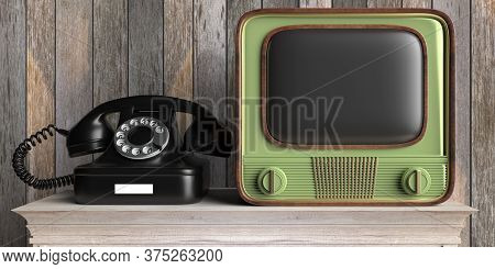 Vintage Retro Tv And Telephone On Wooden Table, Wood Wall Background. 3D Illustration