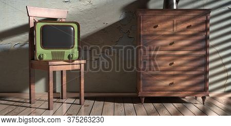 Vintage Tv On A Chair And Chest Of Drawers, House Room Interior Background. 3D Illustration