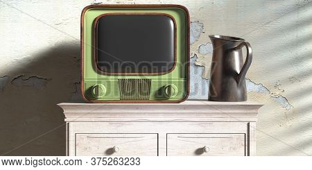 Vintage Tv And Metal Jar On A Wooden Drawer Chest. Faded Wall Background. 3D Illustration