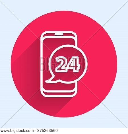 White Line Food Ordering Icon Isolated With Long Shadow. Order By Mobile Phone. Restaurant Food Deli