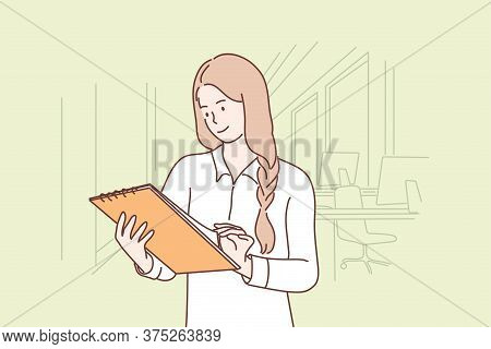 Business, Work, Examination Concept. Young Smiling Businesswoman Clerk Manager Cartoon Character Rea