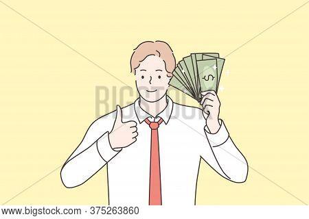 Business, Success, Goal Achievement, Wealth, Money Concept. Young Happy Smiling Businessman Clerk Ma