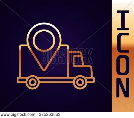 Gold Line Delivery Tracking Icon Isolated On Black Background. Parcel Tracking. Vector Illustration