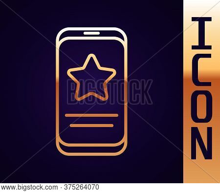 Gold Line Mobile Phone With Review Rating Icon Isolated On Black Background. Concept Of Testimonials