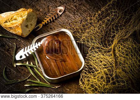 Salted Anchovy Fillets In Olive Oil Tin Can.artisan Anchovies From Cantabrian Sea Salting With Olive