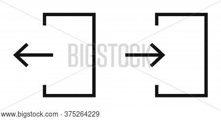 Door Login Icon. Vector Isolated Exid Symbol. White Background.