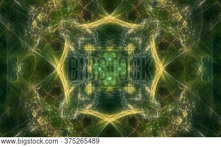 Digital Image Generated On A Computer Consisting Of Beautiful Abstract Geometric Shapes, Lines Of Di