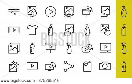 Set Of Images Gallery Vector Line Icons. Contains Icons Such As Video, Play Video, Edit Images, Busi