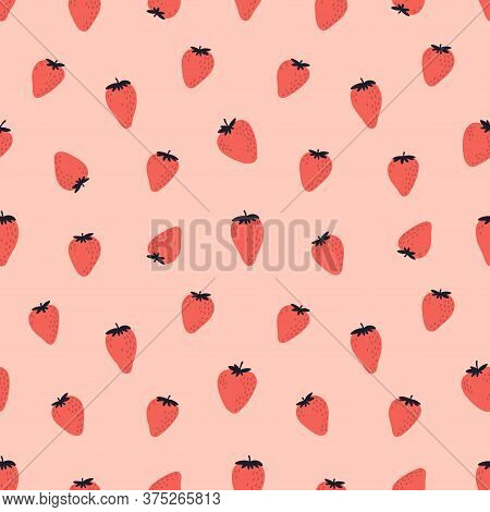 Cute Seamless Pattern With Red Strawberries. Natural Summer Print With Berry, Fresh Fruits In Hand D