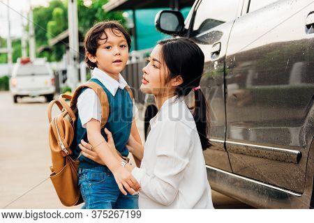 Happy Asian Family Mother Mom Send Children Kid Son Boy Kindergarten Sidewalk To The School Bus, Edu