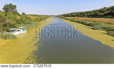 Moored Boat At Artificial Waterway Canal In Vojvodina Serbia