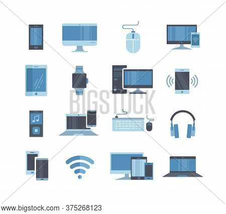 Large Collection Of Blue Toned Digital And Electronic Devices With Smartphones, Tablets, Computers,