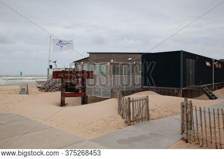 Bergen Aan Zee, Netherland - June 29,2020: The Empty Hemingway's Beach Restaurant On The Beach. The