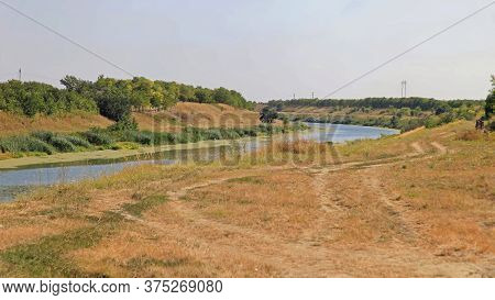 Artificial Waterway Canal Curve In Vojvodina Serbia