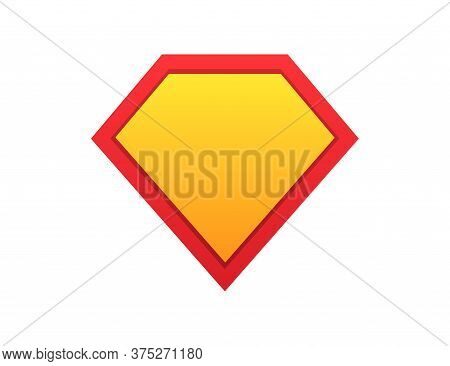 Superhero Shield. Comic Superman Symbol. Guard Icon In Yellow And Red Gradient Colors. Protection Em