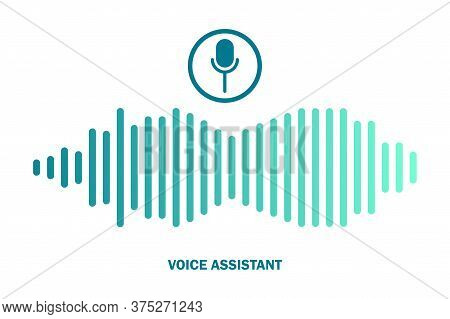 Voice Assistant Icon. Vector Personal Assistant Soundwave Symbol.
