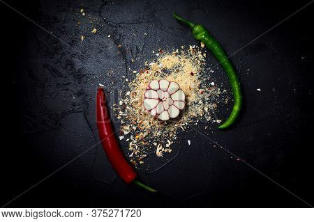 Mixture Of With Fresh Garlic And Chili Peppers