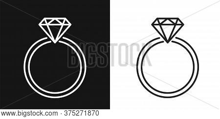 Ring Diamond. Jewellery Vector Flat Line Icon. Diamond Logo.
