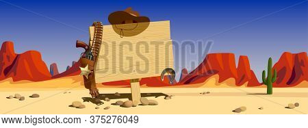 Wood signboard with cowboy hat and colt against the backdrop of the sunlit desert and mountains of the Wild West of the USA. 3d illustration