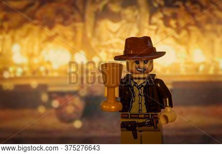 JULY 3 2020:  Lego style mini figure of Indiana Jones in the Grail cave from the movie The Last Crusade
