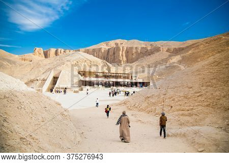 Luxor, Egypt-Jan 28, 2020: Valley of kings. The tombs of the pharaohs. Tutankhamun. Luxor. Egypt. Ancient monument of architecture. Museum. Excavation.