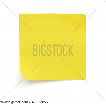 Yellow Note Paper Isolated On White Background With Clipping Path.