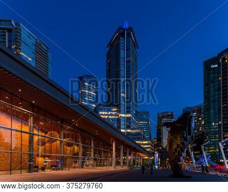 Vancouver, British Columbia / Canada - 06/14/2015. Night And Day Vancouver Highlights Of City And Ha