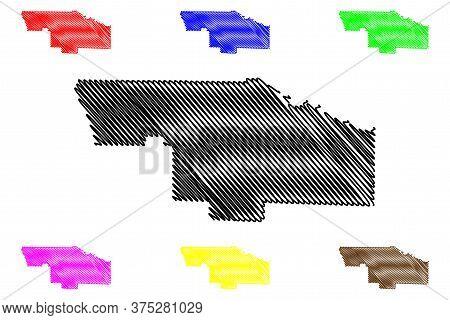 Ben Hill County, Georgia (u.s. County, United States Of America,usa, U.s., Us) Map Vector Illustrati