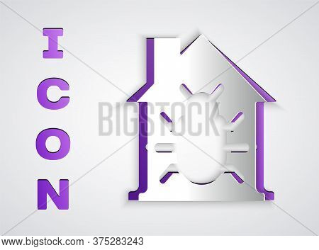Paper Cut House System Bug Concept Icon Isolated On Grey Background. Code Bug Concept. Bug In The Sy