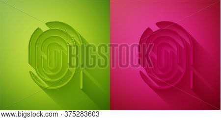 Paper Cut Fingerprint Icon Isolated On Green And Pink Background. Id App Icon. Identification Sign.