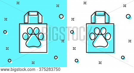Black Line Shopping Bag Pet Icon Isolated On Green And White Background. Pet Shop Online. Animal Cli