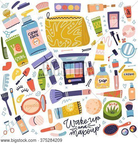 Cosmetic And Makeup Collection. Set Of Cream Tube, Lipstick, Nail Polish, Mascara, Eye Shadows, Brus