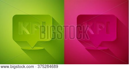 Paper Cut Kpi - Key Performance Indicator Icon Isolated On Green And Pink Background. Paper Art Styl