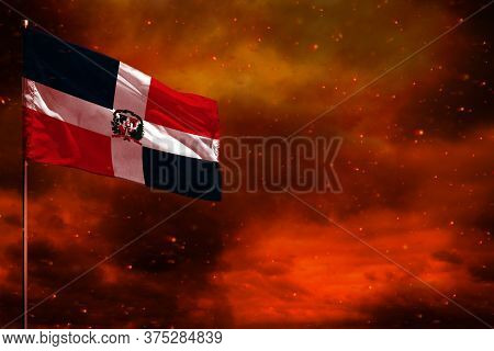 Fluttering Dominican Republic Flag Mockup With Blank Space For Your Data On Crimson Red Sky With Smo