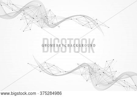Abstract Geometric Background With Dynamic Particles, Wave Flow. Big Data, Plexus Stream Background.