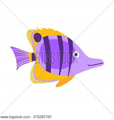 Butterflyfish Isolated On White Background. Exotic Underwater Creature. Flat Vector Illustration.