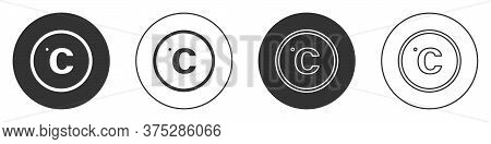 Black Celsius Icon Isolated On White Background. Circle Button. Vector