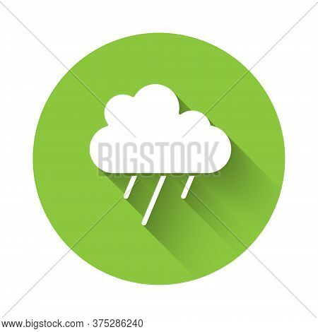 White Cloud With Rain Icon Isolated With Long Shadow. Rain Cloud Precipitation With Rain Drops. Gree