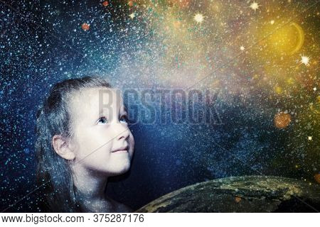 Childhood And Dream Concept. Conceptual Image With Girl Dreaming About Big Future, Outter Space, Sta