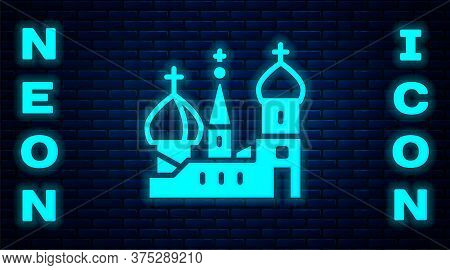 Glowing Neon Moscow Symbol - Saint Basils Cathedral, Russia Icon Isolated On Brick Wall Background.