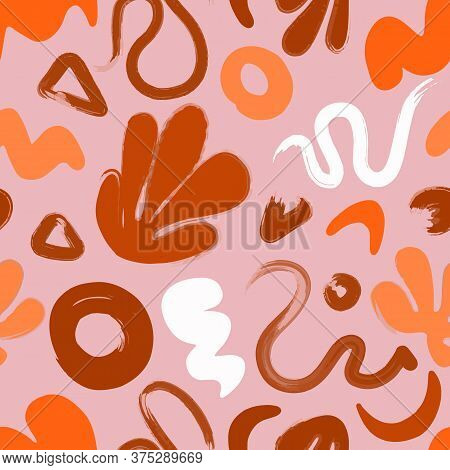 Abstract Colorful Naive Doodle Seamless Vector Pattern. Modern Trendy Pink And Orange Art Background