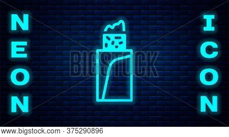 Glowing Neon Burrito Icon Isolated On Brick Wall Background. Traditional Mexican Fast Food. Vector