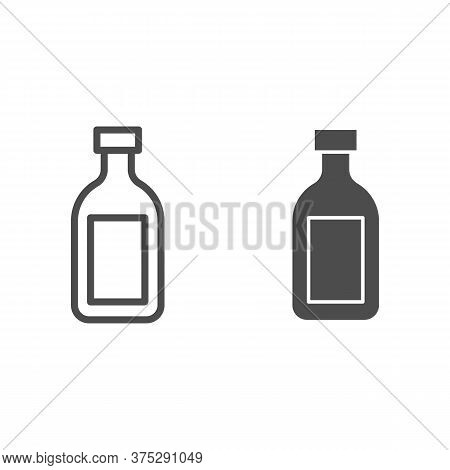 Cognac Line And Solid Icon, Alcohol Drinks Concept, Cognac Brandy Bottle Sign On White Background, A