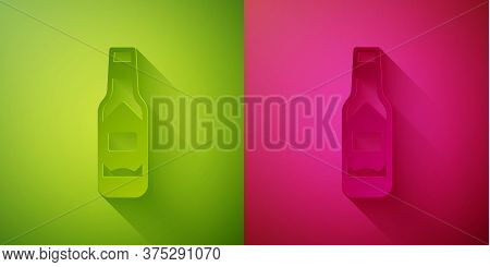 Paper Cut Tabasco Sauce Icon Isolated On Green And Pink Background. Chili Cayenne Pepper Sauce. Pape