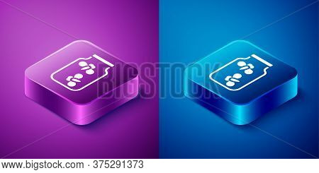 Isometric Fireflies Bugs In A Jar Icon Isolated On Blue And Purple Background. Square Button. Vector