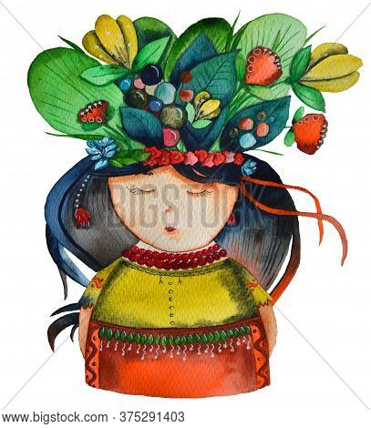 The Ukrainian Girl With Flowers In Her Head And National Cloths