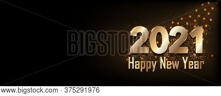 Happy New Year 2021 - New Year Shining Background With Gold Numbers And Glitter. Bokeh Background. S
