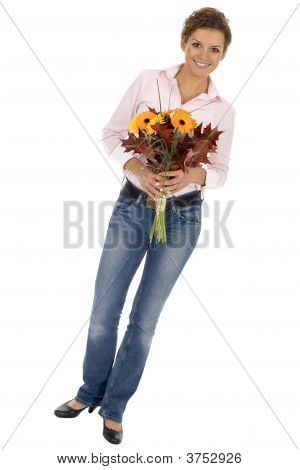 Woman Holding Bunch Of Flowers